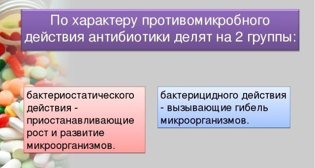 Бактерицидное и бактериостатическое действие